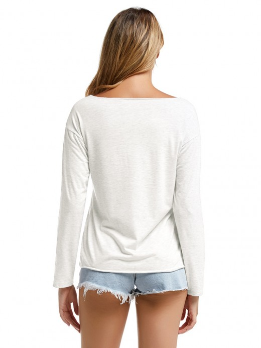 Sweetheart Rounded Hem Shirt Long Sleeve Leisure Time