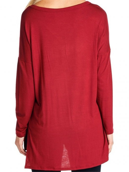 Typical Red High-Low Hem Shirt Letter Print Fashion Insider