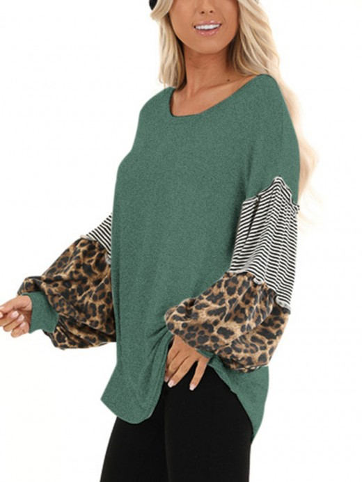 Dreamy Green Round Neck Top Patchwork Long Sleeves Shop Online