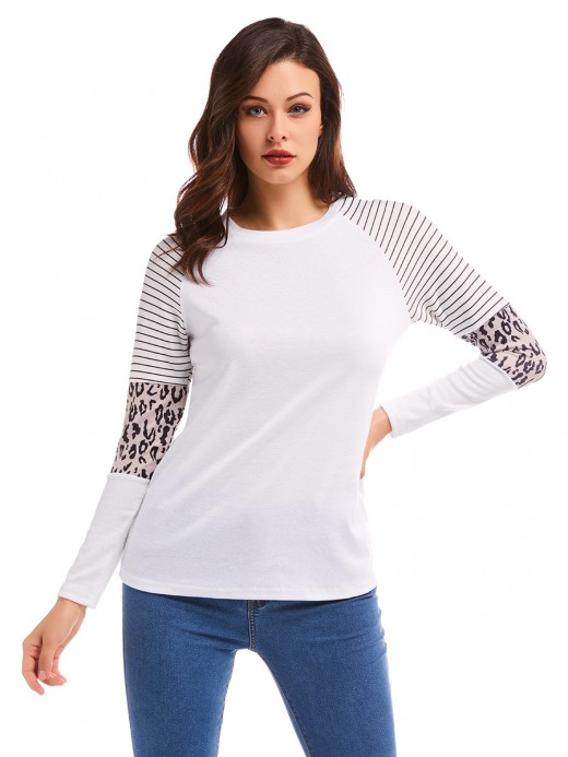 Explicitly Chosen White Shirt Leopard Pattern Stripe Patchwork Fashion