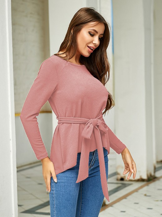 Snug Fit Pink Swallowtail Hem Shirt Full Sleeve Trend For Women