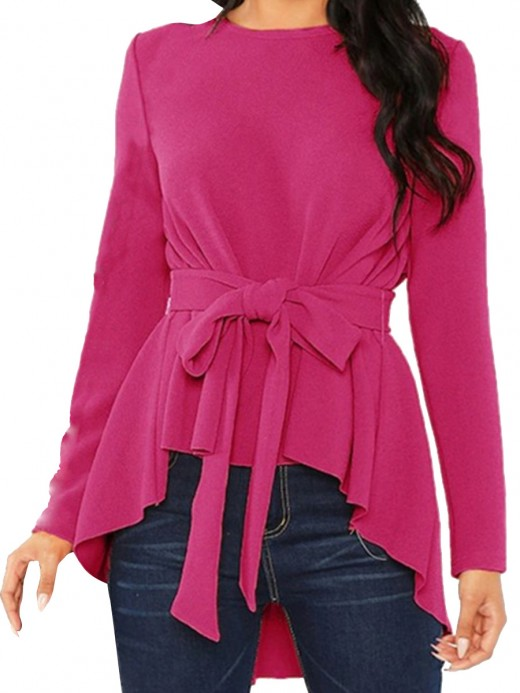 Functional Rose Red Round Neck Shirt Tie High-Low Hem Fashion Style