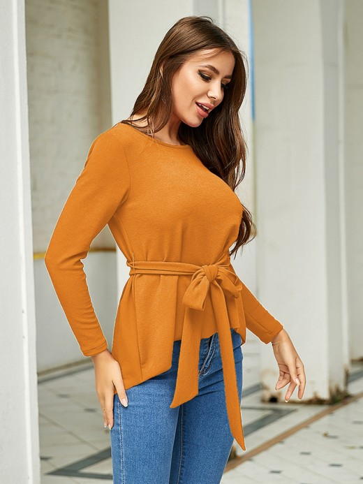 Elegance Yellow Waist Tie Shirt Round Neck Plain Versatile Item