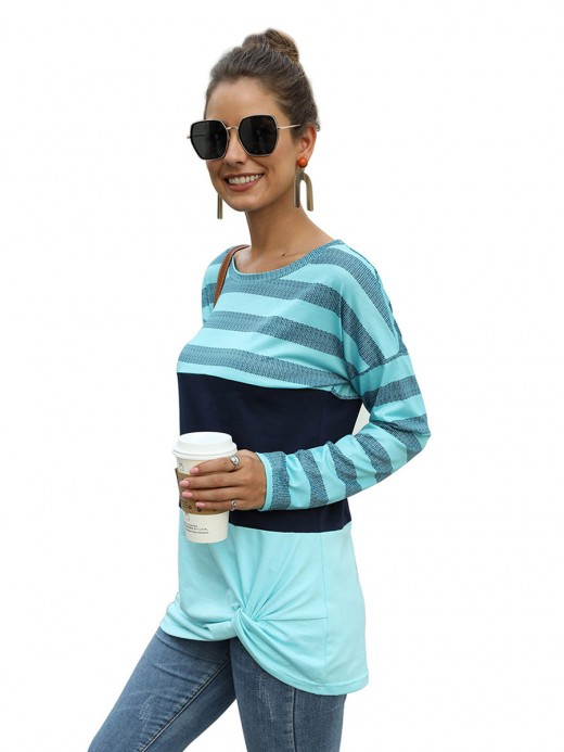 Enticing Green Crew Neck Patchwork Hip Length Shirt Feminine Fashion
