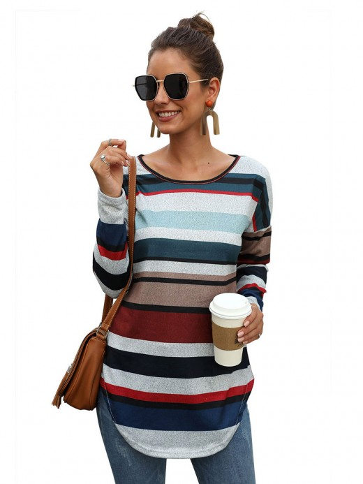 Well-Suited Shirt Stripe Paint Hip Length Pullover