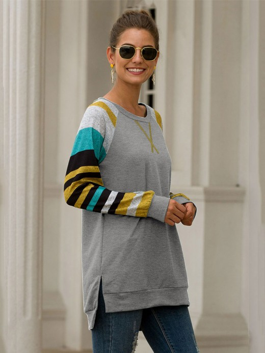 Gorgeously Gray Raglan Sleeve Shirt Patchwork Stripe Women Outfit