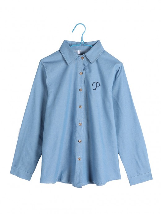 Loose Blue Solid Color Letter Print Button Shirt Womens Clothes
