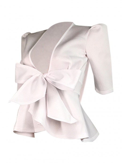 Good-Looking White Plunge Collar Shirt Bow-Knot Ruffle Hem For Romans