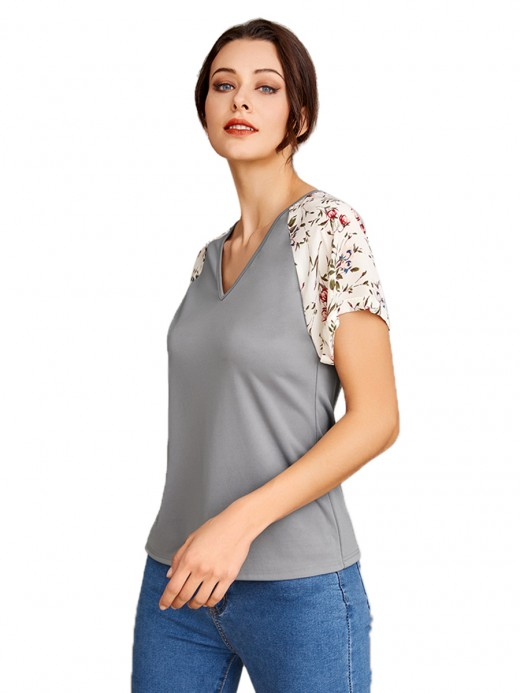 Ultra Sexy V Neck Short Sleeve Patchwork T-Shirt For Walking