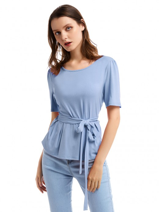 Ingenious Blue Short Sleeve Ruffle Top Solid Color Charming