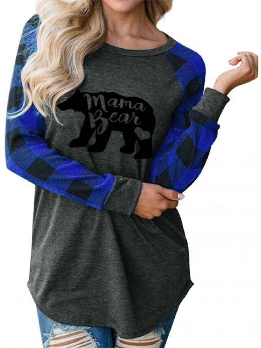 Alluring Blue Raglan Sleeve Shirt Polar Bear Print Breathable
