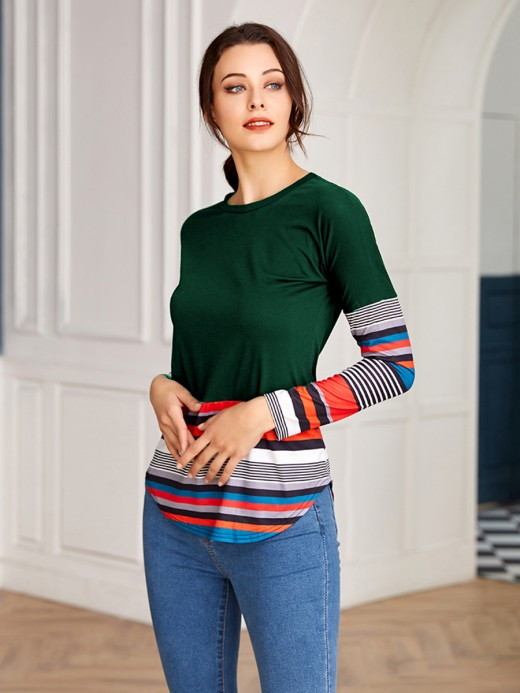 Attractive Green Round Neck Stripe Shirt Long Sleeve Elasticity