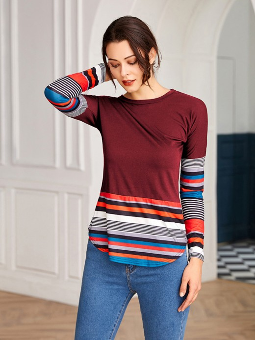Appealing Red Long Sleeves Patchwork Round Neck Top Ladies Grace