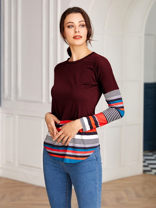 Fancinating Purplish Red Patchwork Full Sleeve Stripe Shirt For Traveling