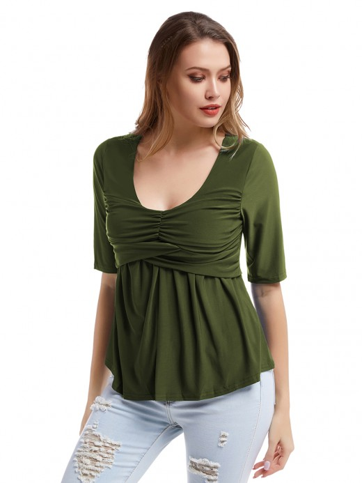 Fashionable Green Ruffled Queen Size Top Short-Sleeve Workout