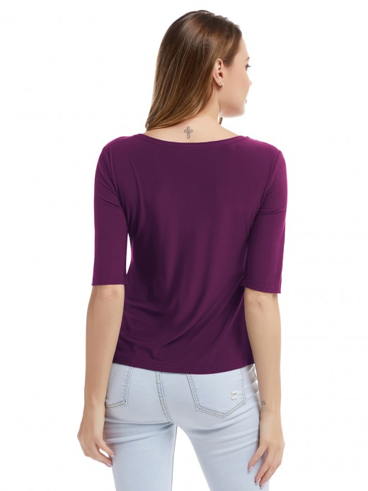 Super Purple Ruched Big Size T-Shirt Round Neck Vacation Time