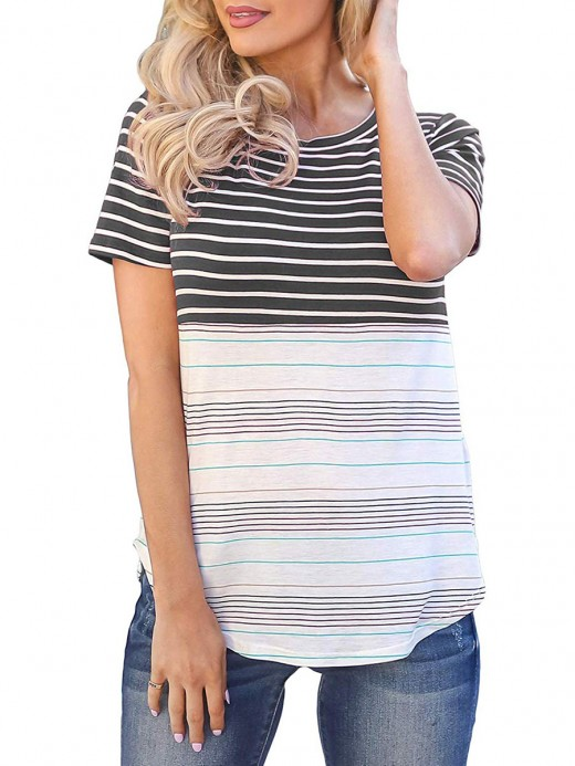 Black Curved Hem T-Shirt Stripe Pattern Classic Clothing