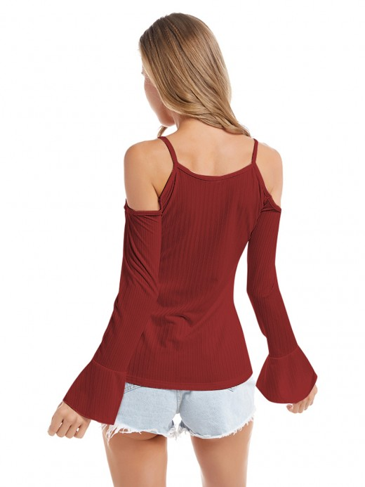 Relaxed Wine Red Knitted Top Queen Size Cold Shoulder Modern