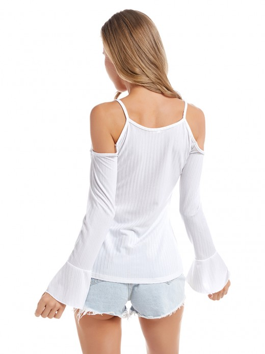 Seductive White Sling Large Size Top Flare Sleeves Womens Clothes