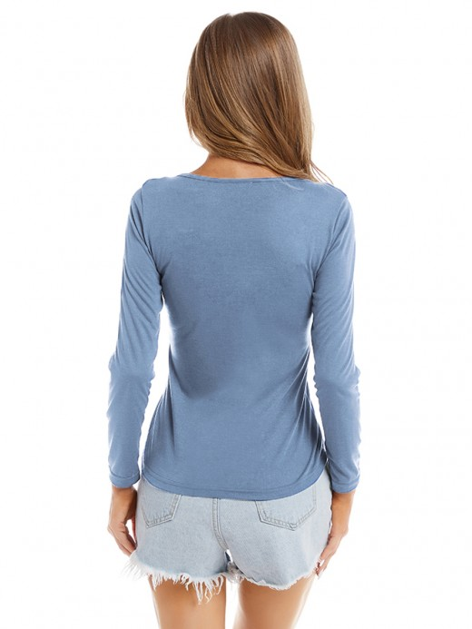 Special Light Blue Lace-Up Top Solid Color Round Neck Classic