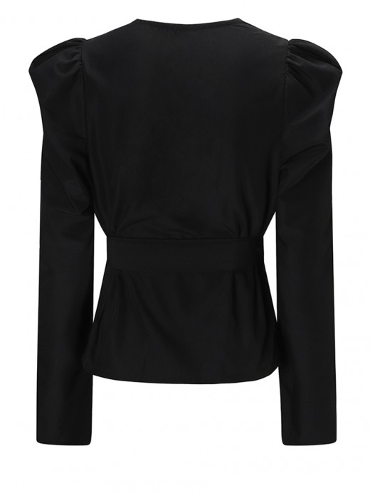 Sweetheart Black Puffed Sleeve Knot Waist Top V Neck Garment