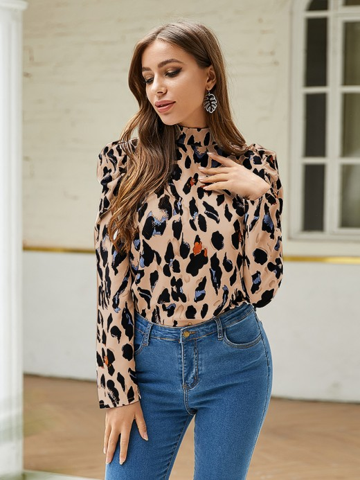 Delightful Coffee Color Leopard Print Puff Sleeve Shirt Form Fitting