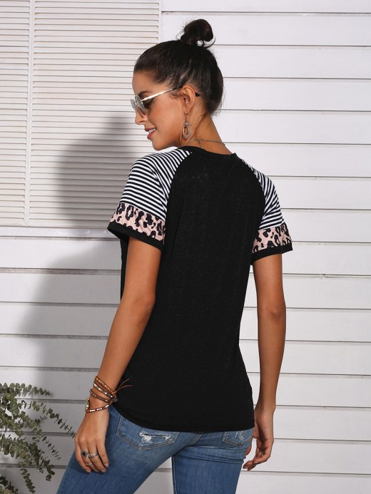 Dazzles Black Stripe Patchwork Top Short Sleeves Casual Wear