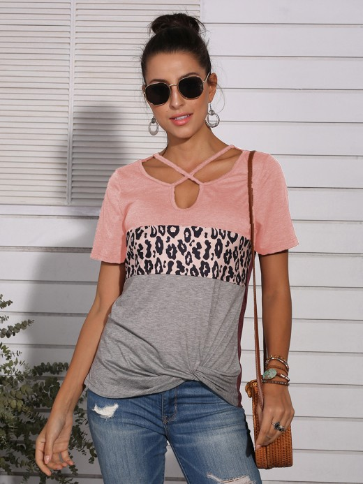 Spectacular Pink Patchwork Short-Sleeve Top Front Twist