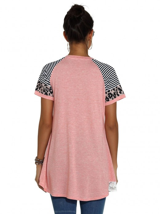 Romans Pink Lace Trim T-Shirt Raglan Sleeve Ultra Hot