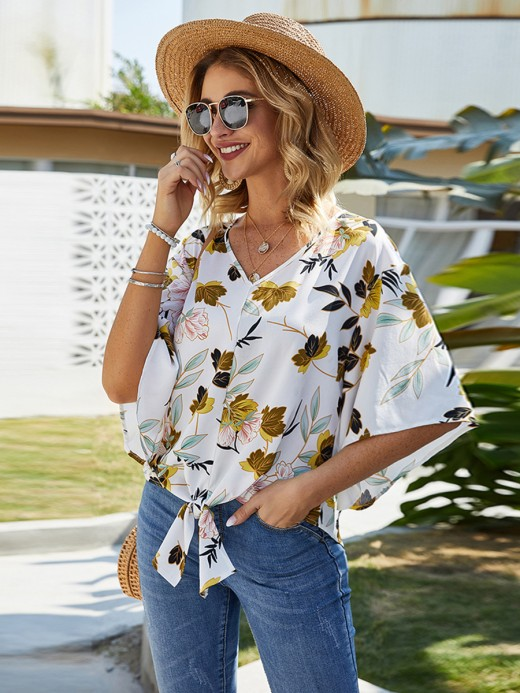 Tantalizing V Collar Knot Shirt Plant Printing Wholesale