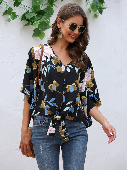 Bright Flare Sleeves V Neck Knot Blouse Distinctive Look