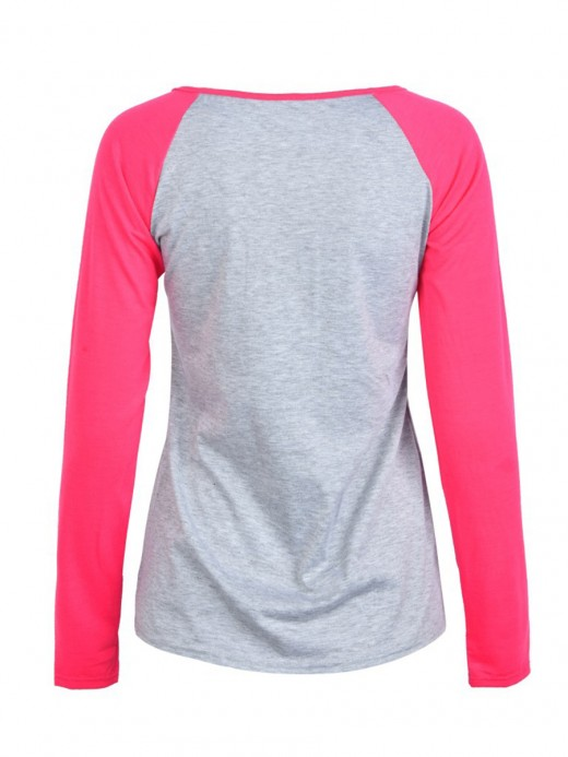 Smooth Rose Red Full Sleeve Round Collar Print T-Shirt Leisure