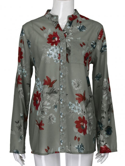 Flirty Gray Full Sleeve Flower Paint Open Front Blouse Simplicity