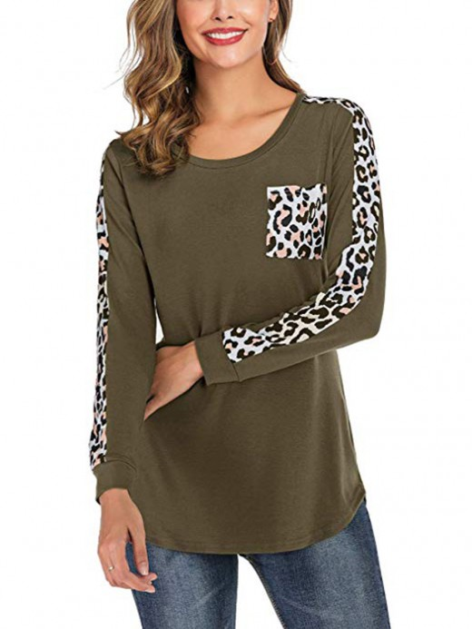 Exceptional Army Green Pocket Full Sleeve Round Neck T-Shirt At Great Prices‎