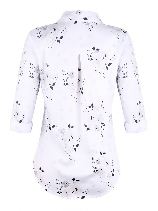 Seductive White Flower Print Staple Collar Blouse Sensual Curves