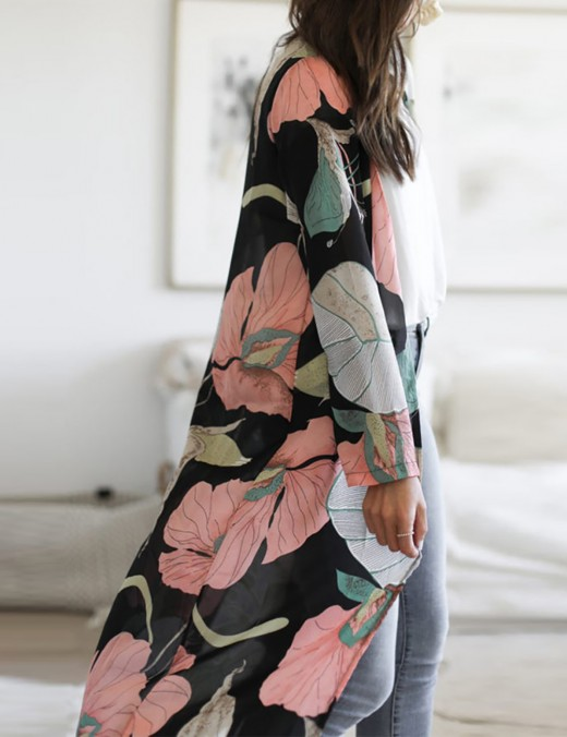 Shop Flower Paint Floor-Length Smock Shirt Super Sexy