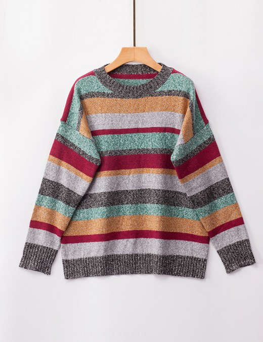 Tailored Green Long Sleeve Stripe Print Knit Sweater Women Clothes