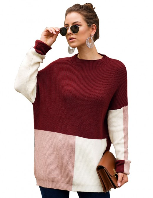 wine red crew neck knit sweater