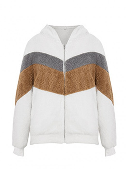 Affordable White Patchwork Hooded Neck Sweater Pocket Breath