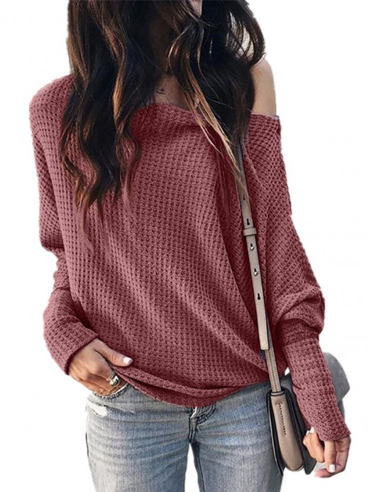 Vogue Wine Red Lantern Sleeve Drop Shoulder Knit Sweater Comfortable
