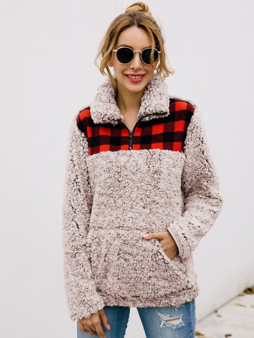 Surprising Long Sleeve Turndown Neck Plaid Sweater Soft-Touch