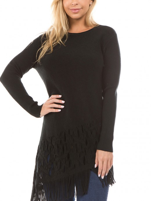 Simplicity Black Crew Neck Knit Sweater Long Sleeve Chic Online