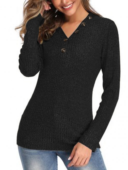 Homelike Black Full Sleeve V-Neck Knit Sweater Glamor Women