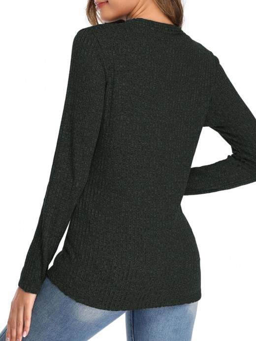 Naughty Dark Green V-Neck Buckle Design Knit Sweater Luscious Curvy