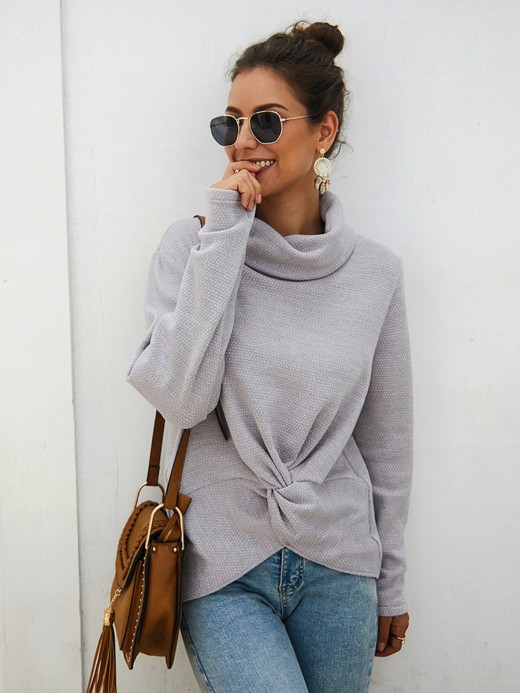 mysterious gray twist detail long sleeve sweater