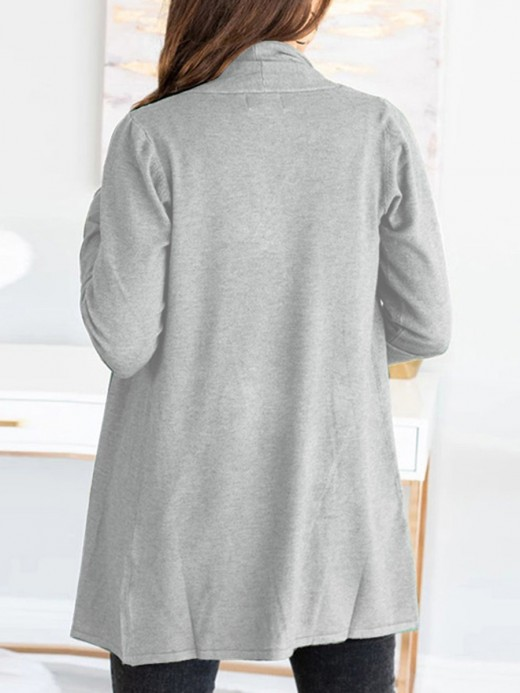 Relaxing Gray Solid Color Kint Open Front Coat Women Outfit