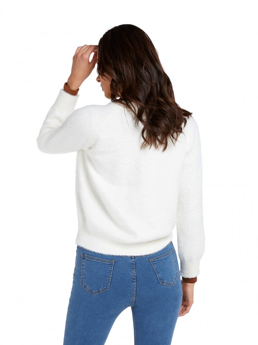 Creative White Button Front Full Sleeve Sweater V Neck For Vacation