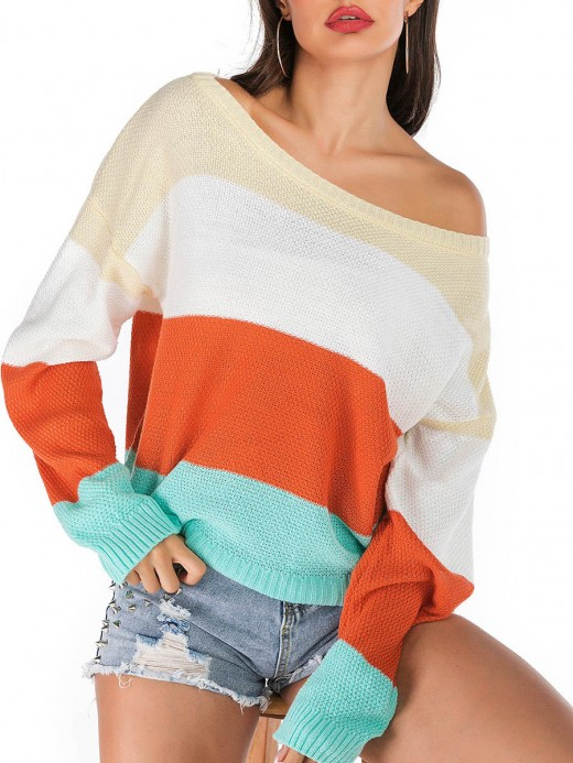 Exclusive Contrast Color Sweater Round Collar Svelte Style