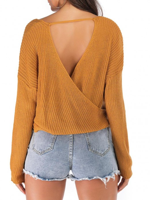Naughty Yellow V-Collar Solid Color Sweater Loose Sensual Curves