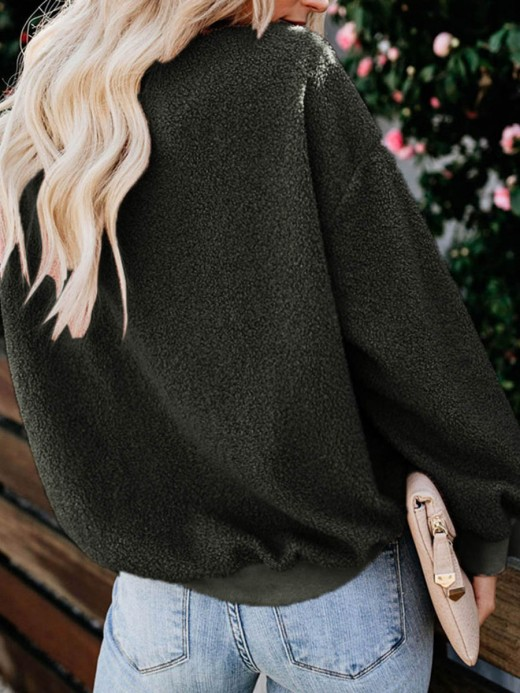 Inviting Green Plush Sweater Long Sleeve Crew Neck Fashion Clothing Online